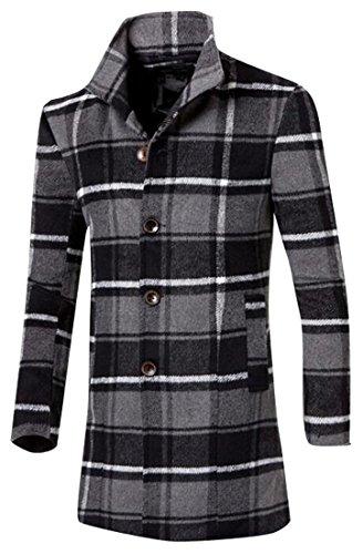 (ARTFFEL-Men Winter Plaid Trench Coat Long Sleeve Long Wool Peacoat Overcoat Grey L)