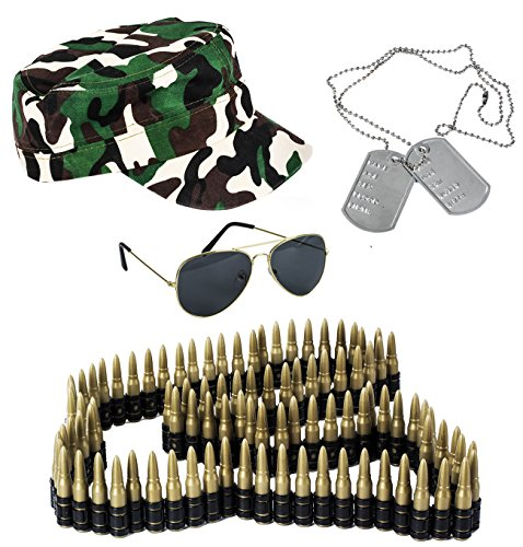 Tigerdoe Army Costume - 4 Pc Set - Soldier Costume - Army Men Costume - Military Costume - Combat Costume