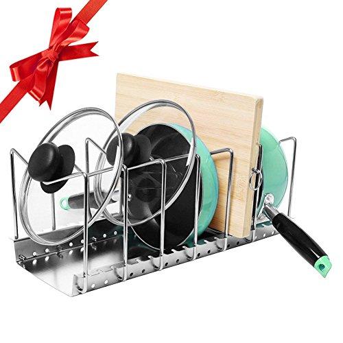 Christmas Gift My Houseware Rack | Adjustable Pantry Pot Lid Kitchen Organizer Bakeware Shelf Storage | Anti Rust Stainless Steel Plate Dryer Tray Sink Holder | Silver | 1229.1 (Hello Kitty Wine Gift Basket)