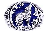 The Wolf howl design Cowboy Belt buckle (blue)