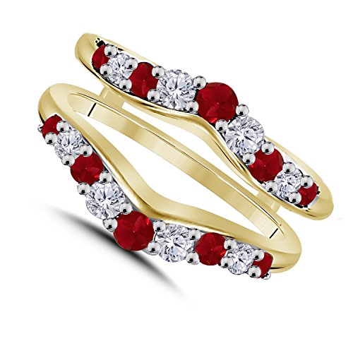 (1/2 Ct Cubic Zirconia Diamond & Red Ruby Ring Solitaire Enhancer Guard Wrap in 14K Yellow Gold Over Sterling Silver Plated Women Jewelry)