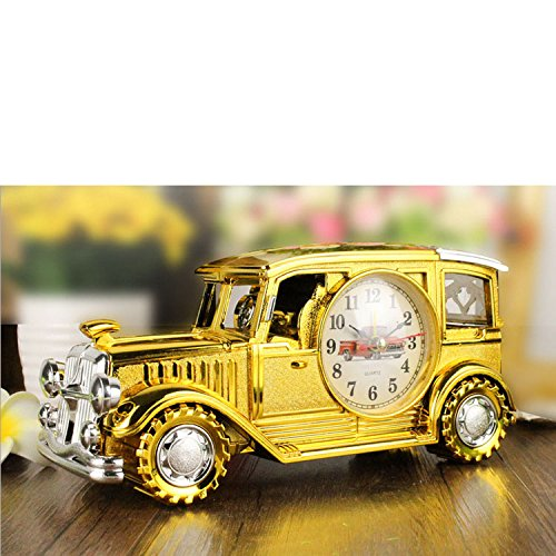 GardenHelper Desk Shelf Alarm Clock Classic Vintage Car Model Table Desk Alarm Clock Time Clock with Pen Pencil Holder for Kids Children Sports Fan Gift (Gold)