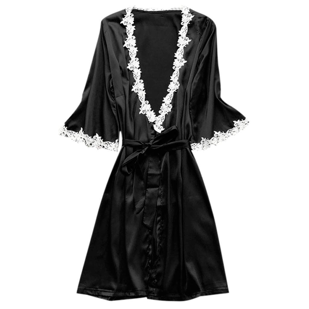 ABsoar Lingeries Damen Dessous Frauen Nachtw/äsche H/übsch Lange Seide Kimono Morgenmantel Babydoll Bath Robe Unterw/äsche Set Unterw/äsche Lingerie Frauen Spitzenkleid