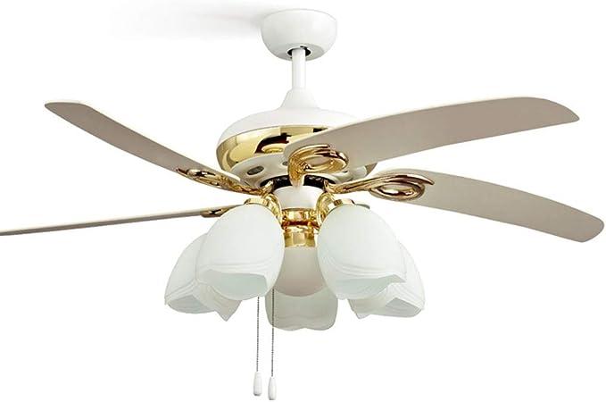 Ventiladores de techo con lámpara Ventilador De Techo Europeo Ligero Chapado En Oro Ventilador De Techo Moderno Y Moderno Salón Comedor Ventilador (Color : Blanco, Size : 132 * 61 cm): Amazon.es: Hogar