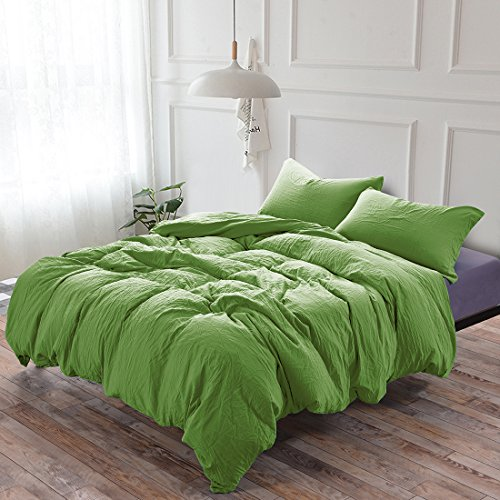 3-Piece Duvet Cover Twin, 100% Washed Cotton Duvet Cover, Ultra-Soft Luxury & Natural Wrinkled Look, Bedding Set (Queen, Green) ()