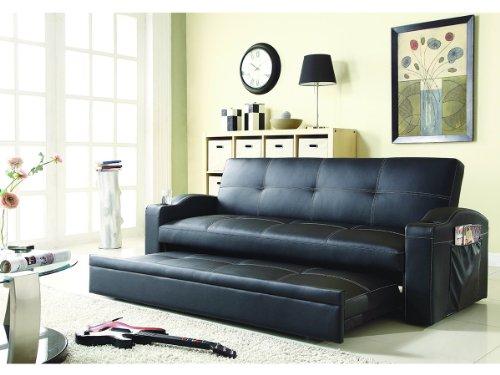 (Homelegance 4803BLK Convertible/Adjustable Sofa Bed, Black Bi-cast Vinyl)