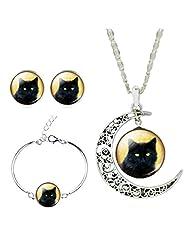 Jiayiqi Women Lifelike Black Cat New Moon Gem Necklace Bracelet Earrings Set