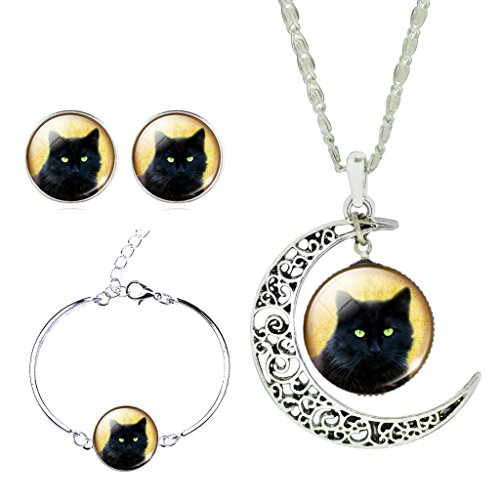 Collar Green Pendant - Women Shiny Green Eye Black Cat Crescent Moon Pendant Collar Necklace Time Gem Earrings Bracelet Set