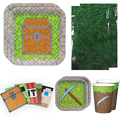 Blue Orchards Mining Fun Deluxe Party Packs (70 Pieces for 16 Guests!), Minecraft Inspired Birthday Party Supplies, Pixel Party]()