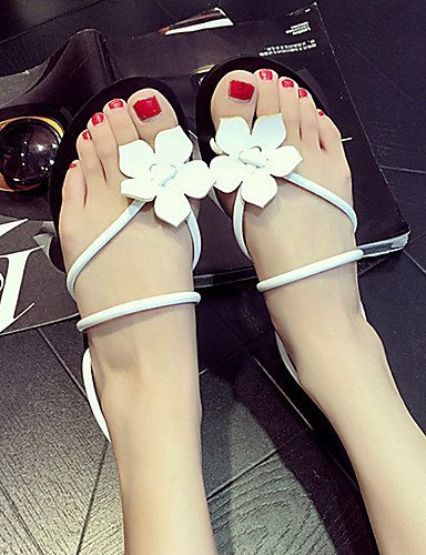 ShangYi Womens Shoes Faux Fur Flat Heel DOrsay & Two-Piece/Novelty Sandals Outdoor/Casual Black/Red/White White