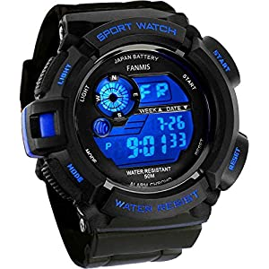 Fanmis Mens Military Multifunction Digital LED Watch Electronic Waterproof Alarm Quartz Sports Watch Blue 21