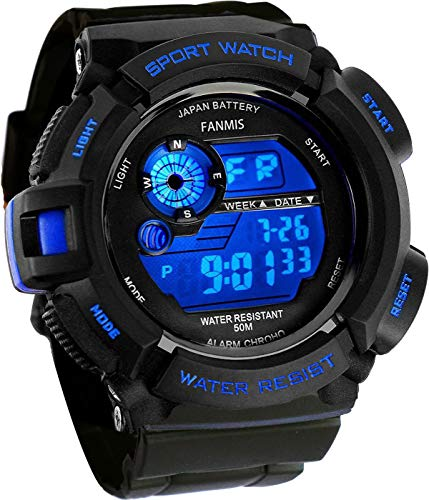 Fanmis Mens Military Multifunction Digital LED Watch Electronic Waterproof Alarm Quartz Sports Watch (Blue)