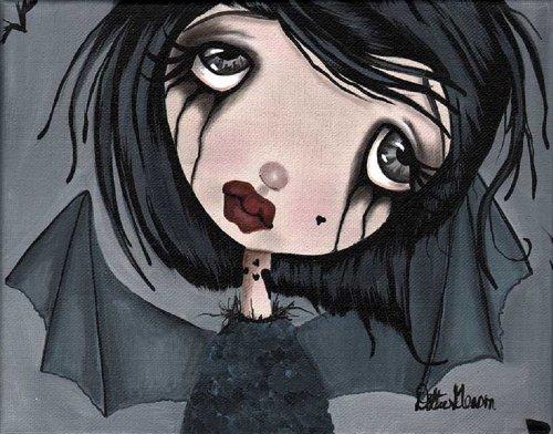 Black Market Art Echo by Dottie Gleason Gothic Girl Vampire Bat w Wings Tattoo Canvas Art Print