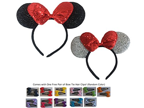 Mickey/Minnie Mouse Style Ears Headband for Boys, Girls, Children, Adults, Disneyland, Music Festivals, Headwear, Halloween, More (Sparkling Silver/Sparkling Black with Large Red Bow [1 of Each]) -
