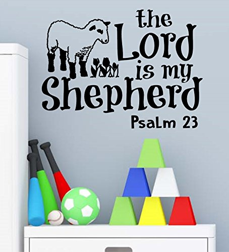 Psalm 23 for Kids Wall Decal is a Vinyl Poster Wall Decor Displaying a The Lord is My Shepherd Bible Quotes Inspirational Wall Art for Women, Men or Children's Room - Green by WallDecalsAndArt (Image #2)