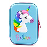Cute Unicorn Embossed Hardtop Pencil Case - Kids Large Colored Pen Holder Box With Compartments - Girls Cosmetic Pouch Bag Stationery Organizer (Light Blue)