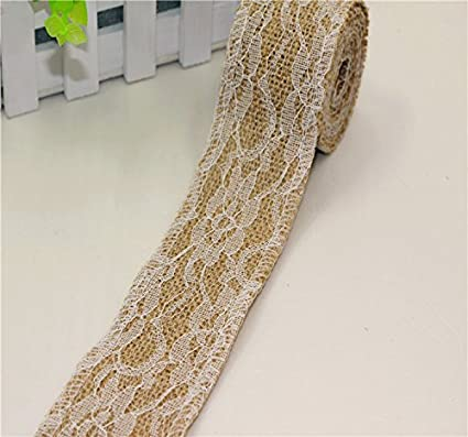 2M Burlap With Lace Natural Hessian Ribbon Trim Edge Wedding Rustic width 2.5cm