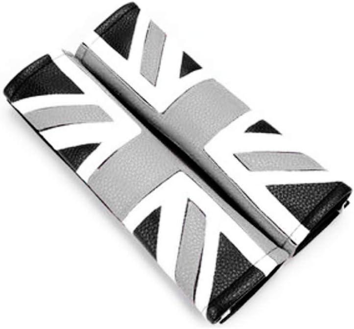 Mini Cooper White Logo Writing 1 Pair Soft Car Seat Belt Cushion Cover Pads