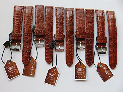 18 mm Genuine Alligator CROCODILE LEATHER SKIN WATCH STRAP BAND ( Brown ) - Rolex Leather Band