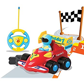 Liberty Imports Cartoon R/C Formula Race Car Radio Control Toy by (Assorted Colors)