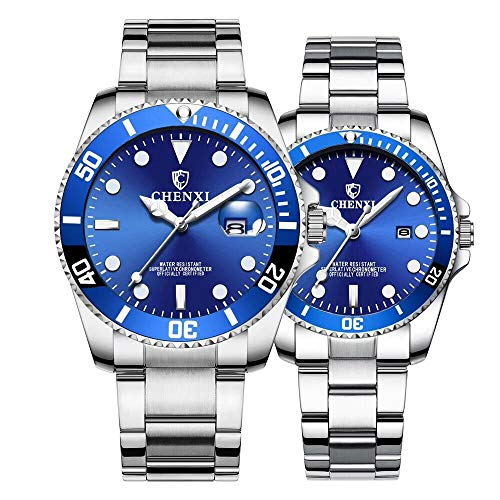Couple Watches Classic Silver Stainless Steel Watch His and Hers Waterproof Quartz Watch Gifts Set of 2 (Silver Blue)