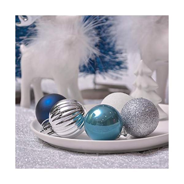 Valery Madelyn Palle di Natale 40 Pezzi 4 cm Addobbi Natalizi per Albero, Auguri Invernali Argento e Blu Ornamenti di Palla di Natale Infrangibili di Base 5 spesavip