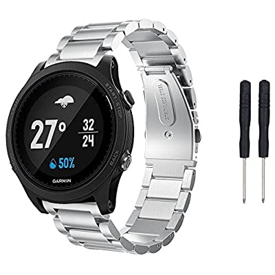 Senter Stainless Steel Strap Wrist Bands Replacement with Durable Folding Metal Clasp for Garmin Forerunner 935 Watch