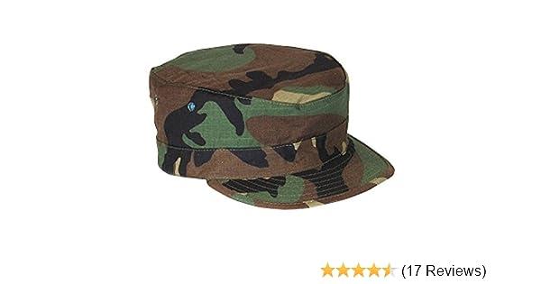 ad1975de453 Amazon.com  Genuine Issue Woodland Hot Weather BDU RipStop Patrol Cap (7-5 8)   Clothing