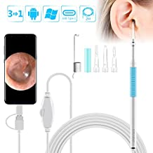 Ear Otoscope,ROTEK 1.3 Megapixels 720P HD Ear Scope Inspection Camera, 3 In 1 USB Ear Digital Endoscope Earwax Cleansing Tool with 6 LEDs for Micro USB,USB-C Android Phone,Windows MAC PC-6.5ft