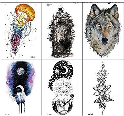 yyyDL Black Forest Wolf tatuaje temporal hombres cuerpo arte ...