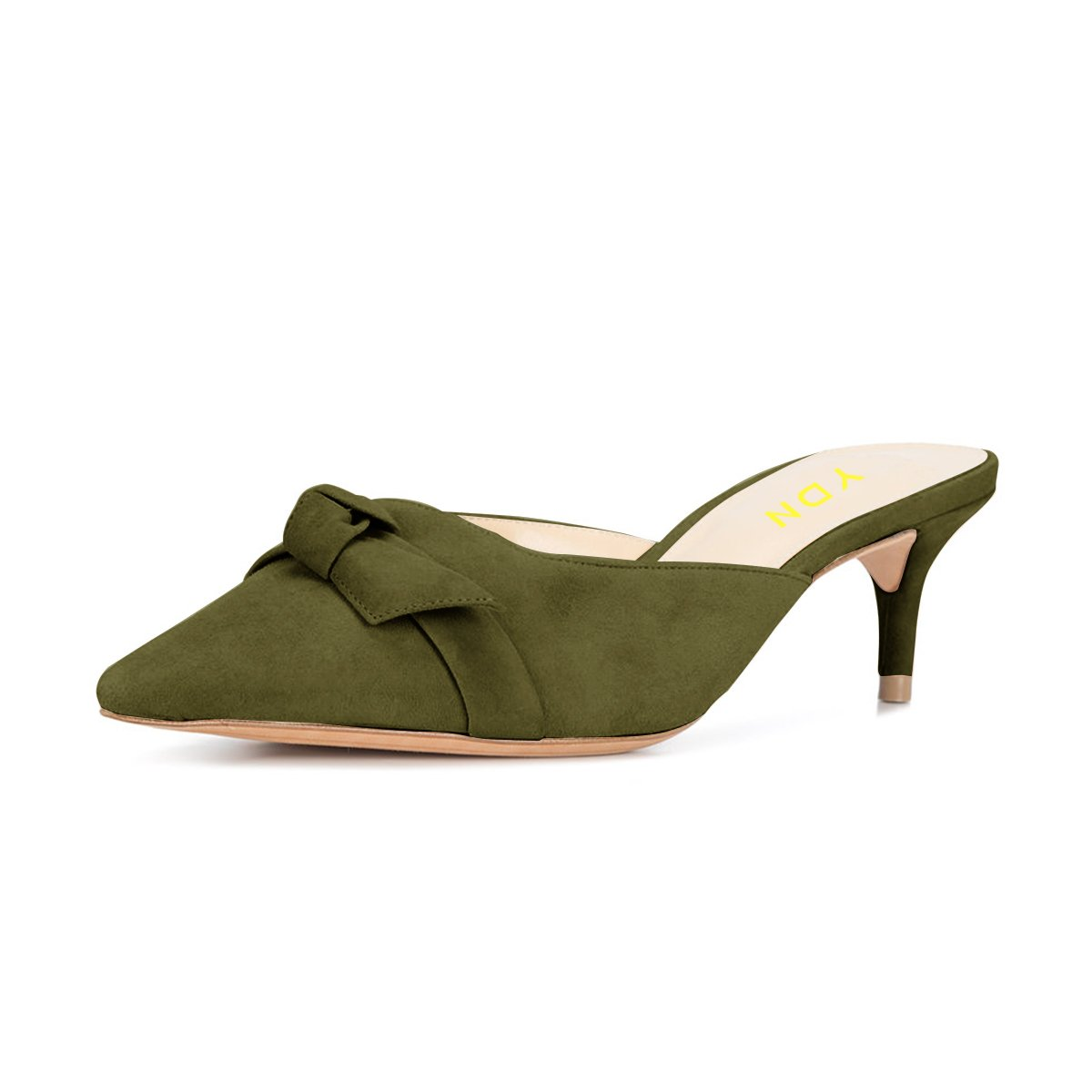 YDN Womens Low Heels Slide Sandals Pointed Toe Kitten Mules Slip on Pumps with Chic Bow Olive 15