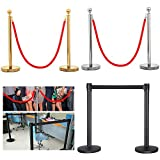 #5: Yaheetech Round Top Stainless Steel Plated Stanchions posts with 1 of 6.5ft Red Velvet Rope,Crowd Control Stanchions,Gold