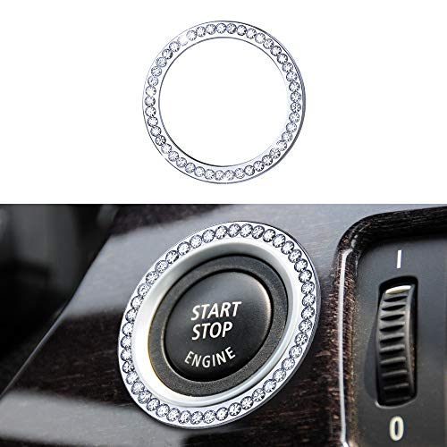 1797 Compatible Engine Caps for BMW Accessories Parts Start Stop Button Covers Decal Bling Interior Decorations 3 5 6 7 Series X5 X6 Z4 E90 F30 E60 F10 E63 F01 E70 E71 E72 E89 Women Men Crystal Silver