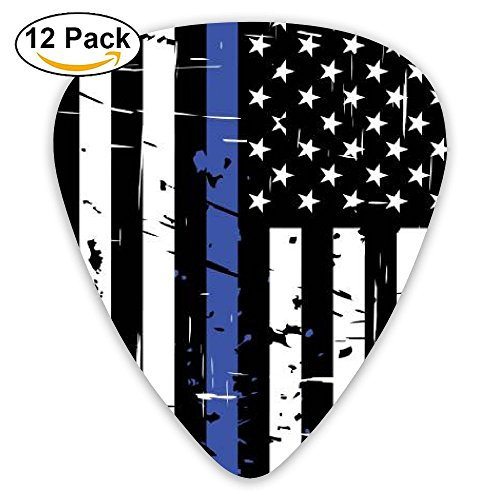 Thin Blue Line Flag Police Guitar Picks 351 Shape Classic Picks 12-Pack Celluloid Paddles Plectrums 0.46mm/ 0.71mm/ 0.96mm