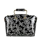 QZUnique Women's Vintage Elegant Top Handle Bowknot Printing Cross Body Shoulder Bag Silver