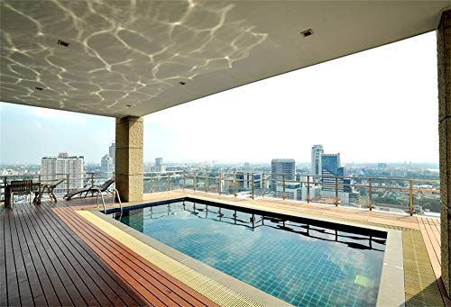 AOFOTO 7x5ft Rooftop Swimming Pool Photography Background Reflection of Water Cityscape Backdrop Vacation Travel Hotel Adults Portraits Video Displays TV Film Production Studio Prop Video Drapes