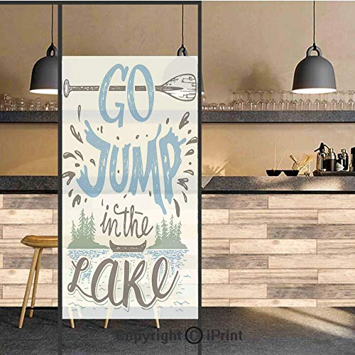 (3D Decorative Privacy Window Films,Vintage Typography Inspiration Quote Lake Sign Canoe Fishing Sports Theme Decorative,No-Glue Self Static Cling Glass film for Home Bedroom Bathroom Kitchen Office 24)