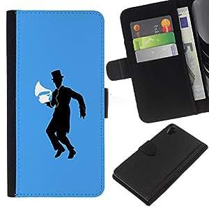 Sony Xperia Z2 D6502 D6503 D6543 L50t L50u , la tarjeta de Crédito Slots PU Funda de cuero Monedero caso cubierta de piel ( Music Vintage Machine Man Hat Black Dance)