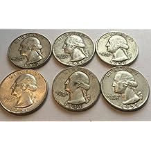 6 Silver Washington Quarters ((Comes in a Velvet Bag)) Fine Details