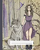 Composition Notebook Wide Ruled - Wild Dire Wolf & Elf Princess: School Exercise Book | 150 Lined Pages (Fantasy Elves Series)