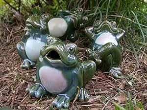 Juego de 4figuras de porcelana, diseño de rana Garden estatuas Yard Decor