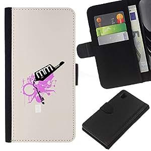 LECELL--Cuero de la tarjeta la carpeta del tirón Smartphone Slots Protección Holder For Sony Xperia Z1 L39 -- Rosa abstracto --
