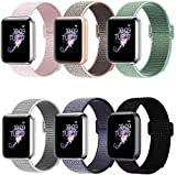 BMBMPT Sport Bands Compatible with Apple Watch 42mm 44mm Soft Breathable Nylon Sport Loop Strap Replacement for iWatch Series 4 Series 3 Series 2 Series 1