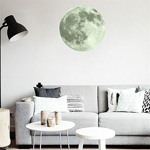 OTTATAT Wall Stickers Flowers 2019,40cm 3D Large Moon Fluorescent Removable Glow in The Dark Sticker Easy to Stick Independence Day BeachGift for boy Free Deliver -