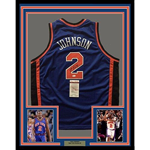 Framed Autographed/Signed Larry Johnson 33x42 New York Knicks Blue Basketball Jersey JSA COA