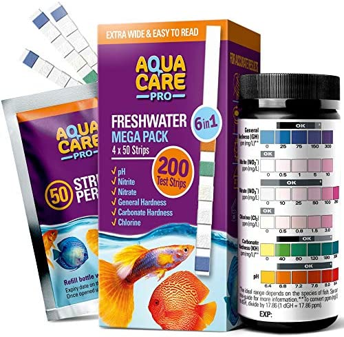 Freshwater Aquarium Test Strips 6 in 1 – Fish Tank Test Kit for Testing pH Nitrite Nitrate Chlorine General & Carbonate Hardness (GH & KH) – Easy to Read Wide Strips & Full Water Testing Guide
