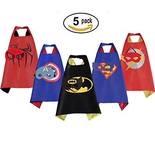 Boys Capes (Mizzuco Cartoon Hero Costumes Capes with Felt Mask (5pcs))