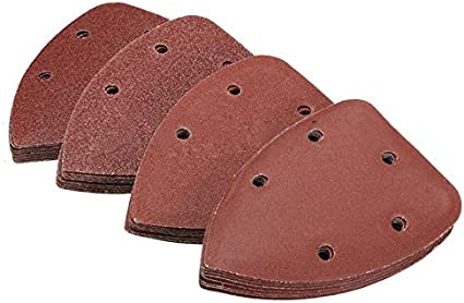 YHJGKO sandpaper40pcs New Triangle Sanding Sheets Pads Sandpaper with 5 Holes for Grinding Tool,Brown