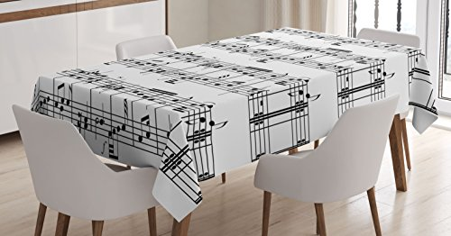 Ambesonne Music Decor Tablecloth, Musical Notes on The