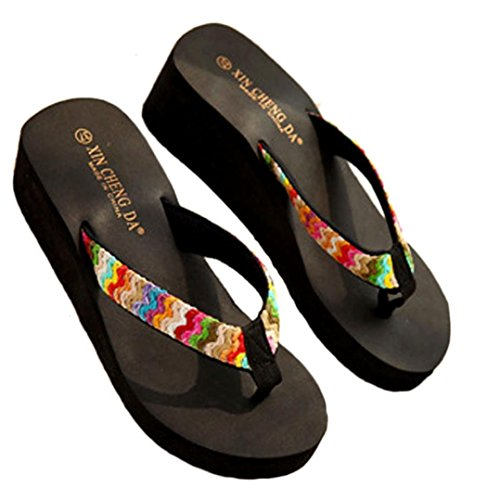 Koly Fashion Summer Platform Sandals Beach Flat Wedge Patch Flip Flops Lady Slippers Black 3q1sTFPzLJ